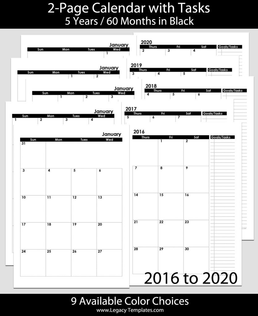 2016 Thru 2020 60-Months 2-Page Calendar – A5 | Legacy 8 1/2 X 11 Monthly Calendar Pages