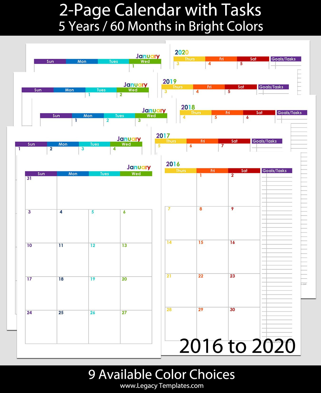 2016 Thru 2020 60-Months 2-Page Calendar – A5 | Legacy Printabel Planner Pages For 5.5 X 8.5 Planner