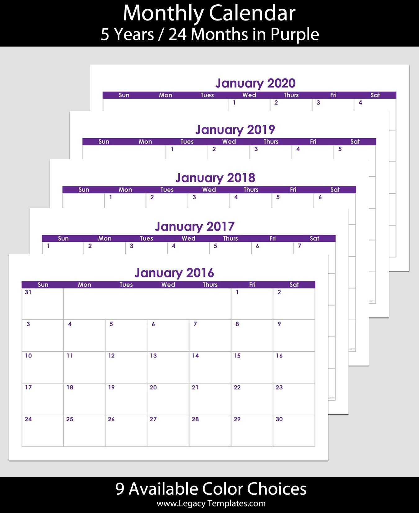 2016 To 2020 60-Month Landscape Calendar – 5.5″ X 8.5 8.5 X 5.5 Calendar