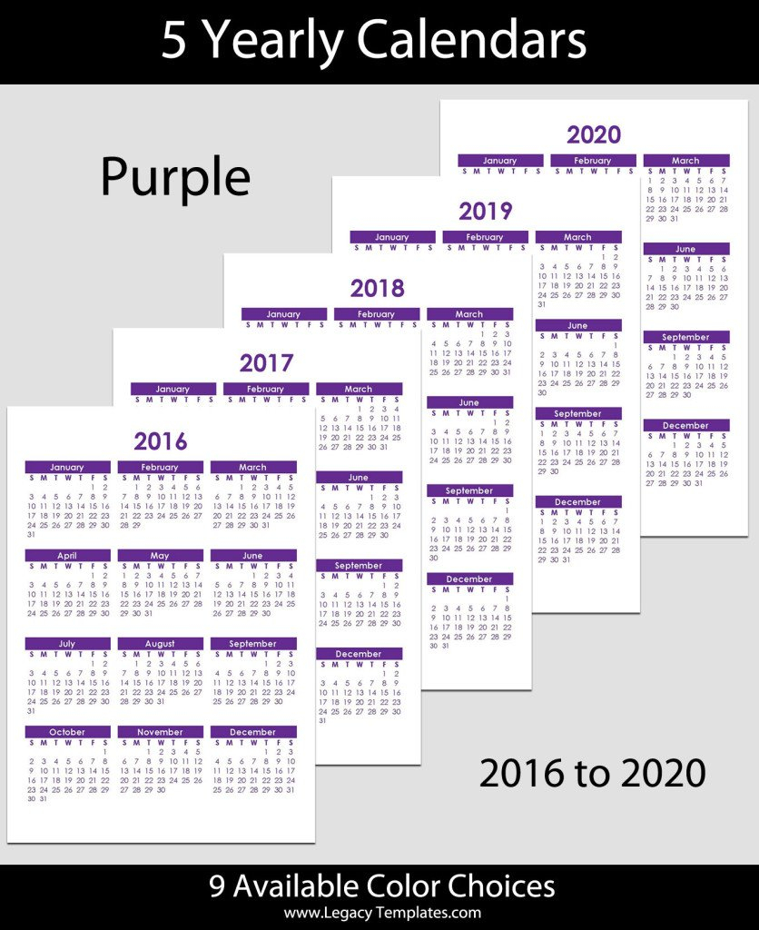 2016 To 2020 Yearly Calendar – A5 | Legacy Templates 5 1/2 X 8 1/2 Page Daily Calendar Template Editable