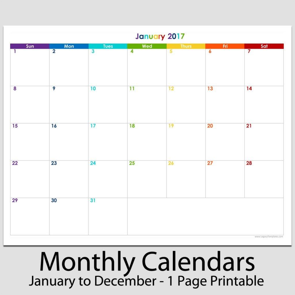 "2017 - 12 Month Landscape Calendar - 8 1/2"" X 11"" | Legacy 8 1 2 X 11 Printable Calendar"