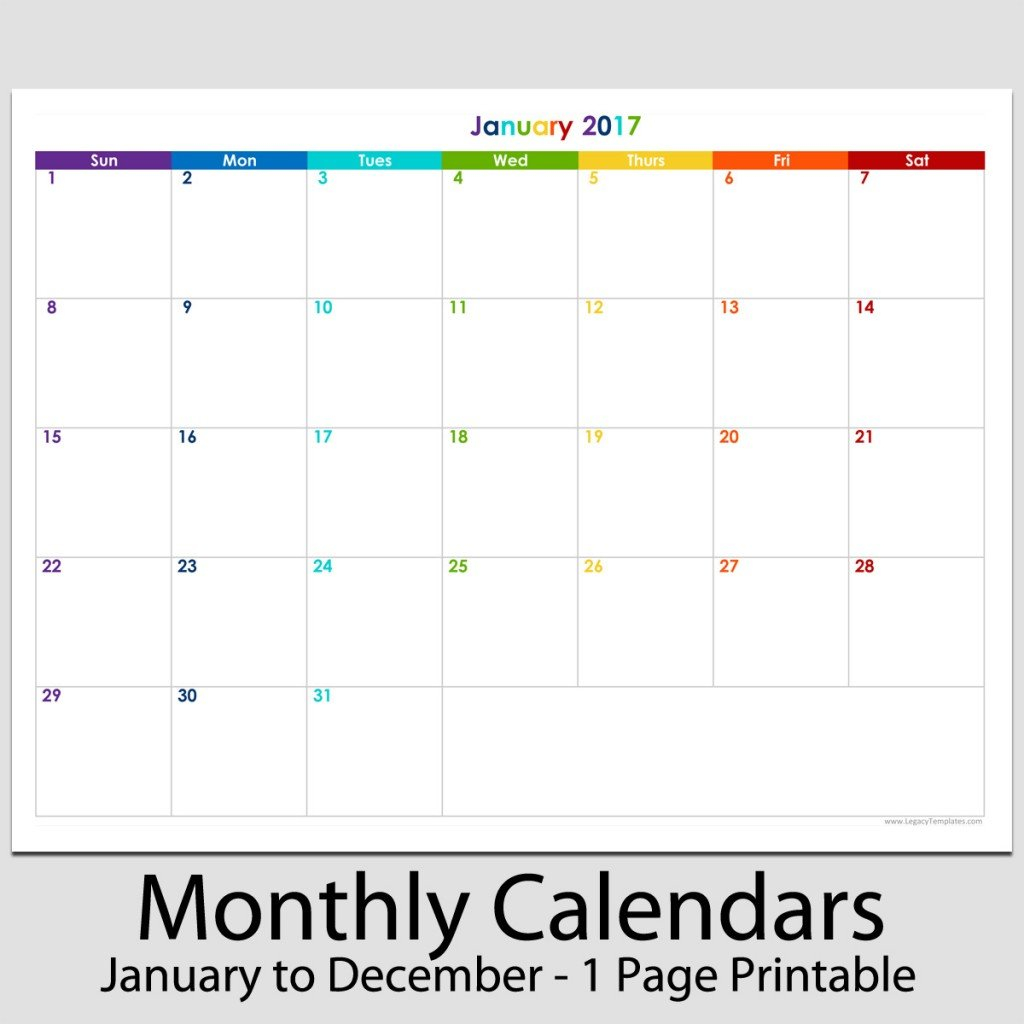 """2017 - 12 Month Landscape Calendar - 8 1/2"""" X 11"""" 