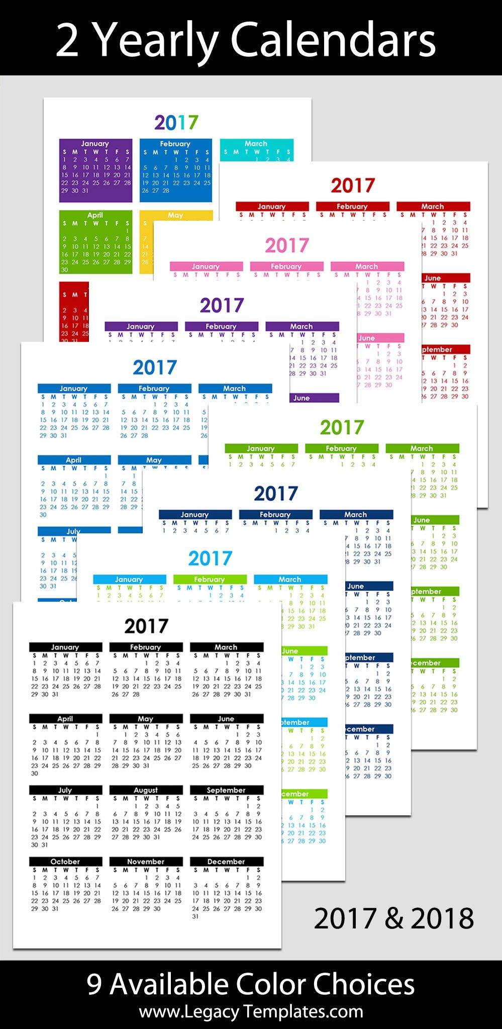 "2017 & 2018 Yearly Calendar – 8 1/2"" X 11"" | Legacy Templates Printable 2020 Calendar 8 1/2 X 11"