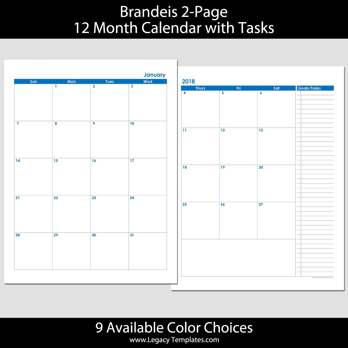 2018 12-Month 2-Page Calendar – 8.5 X 11 | Legacy Templates 2 Page Printable Monthly Calendar
