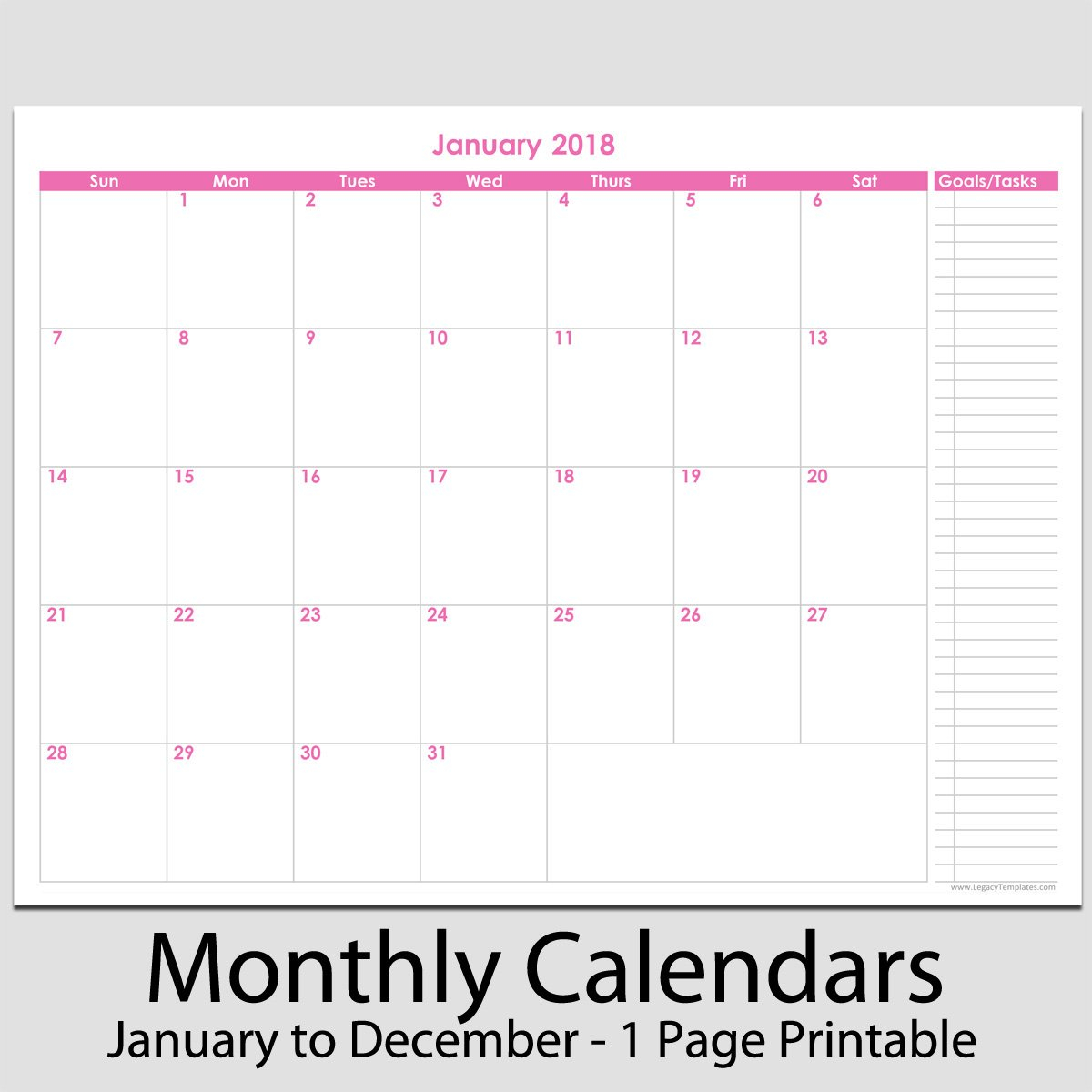 """2018 – 12 Month Calendar With Tasks – 8 1/2"""" X 11 8X11 Full Page Weekly Calendar"""