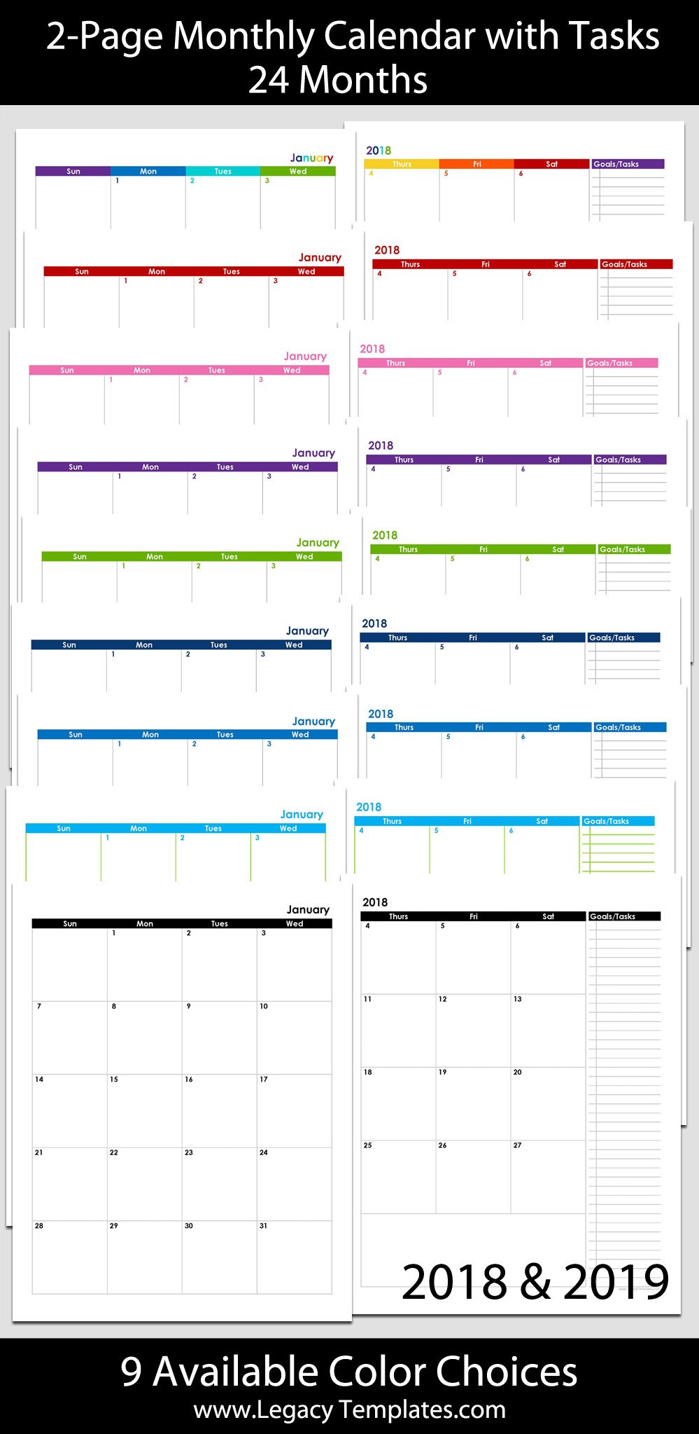 2018 & 2019 24-Month 2-Page Calendar – 8 1/2″ X 11 8 1/2 By 11 Inch Monthly Calendar