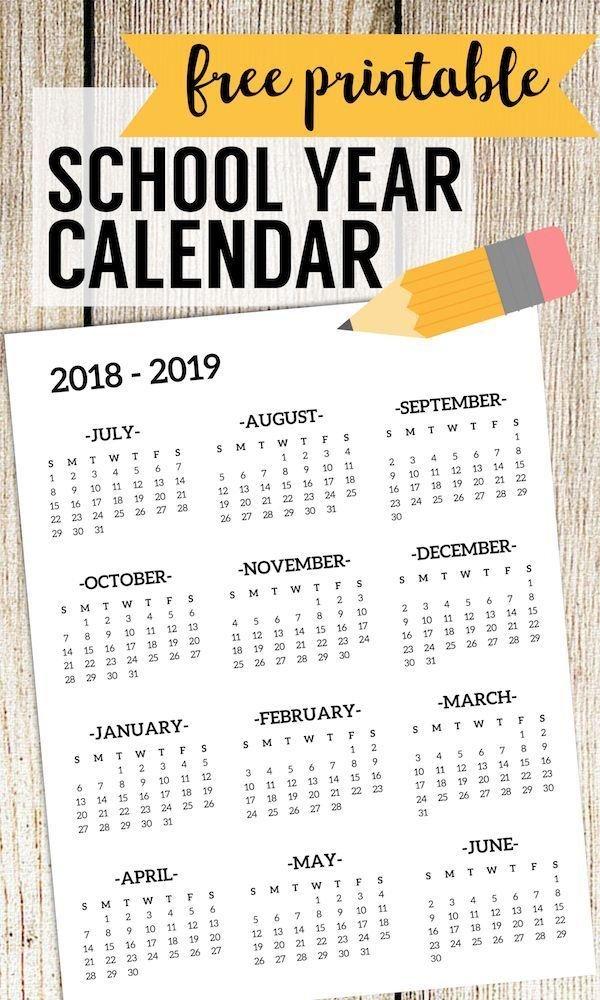2018-2019 School Calendar Printable Free Template Free School Calendars For Teachers