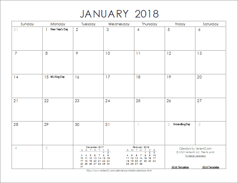 2018 Calendar Templates, Images And Pdfs Print Free Calendars Without Downloading 2018