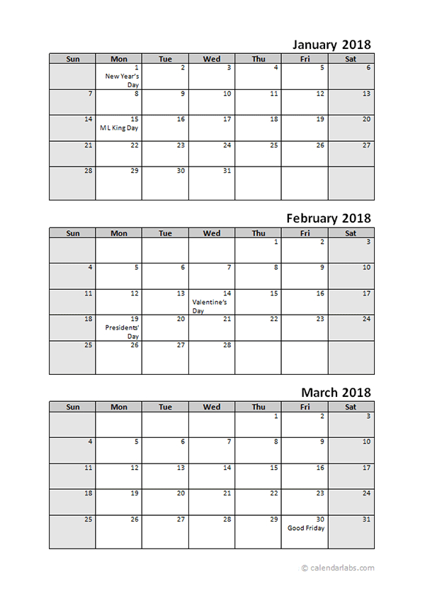2018 Quarterly Calendar With Holidays - Free Printable Applications To Print 3Month Calendars