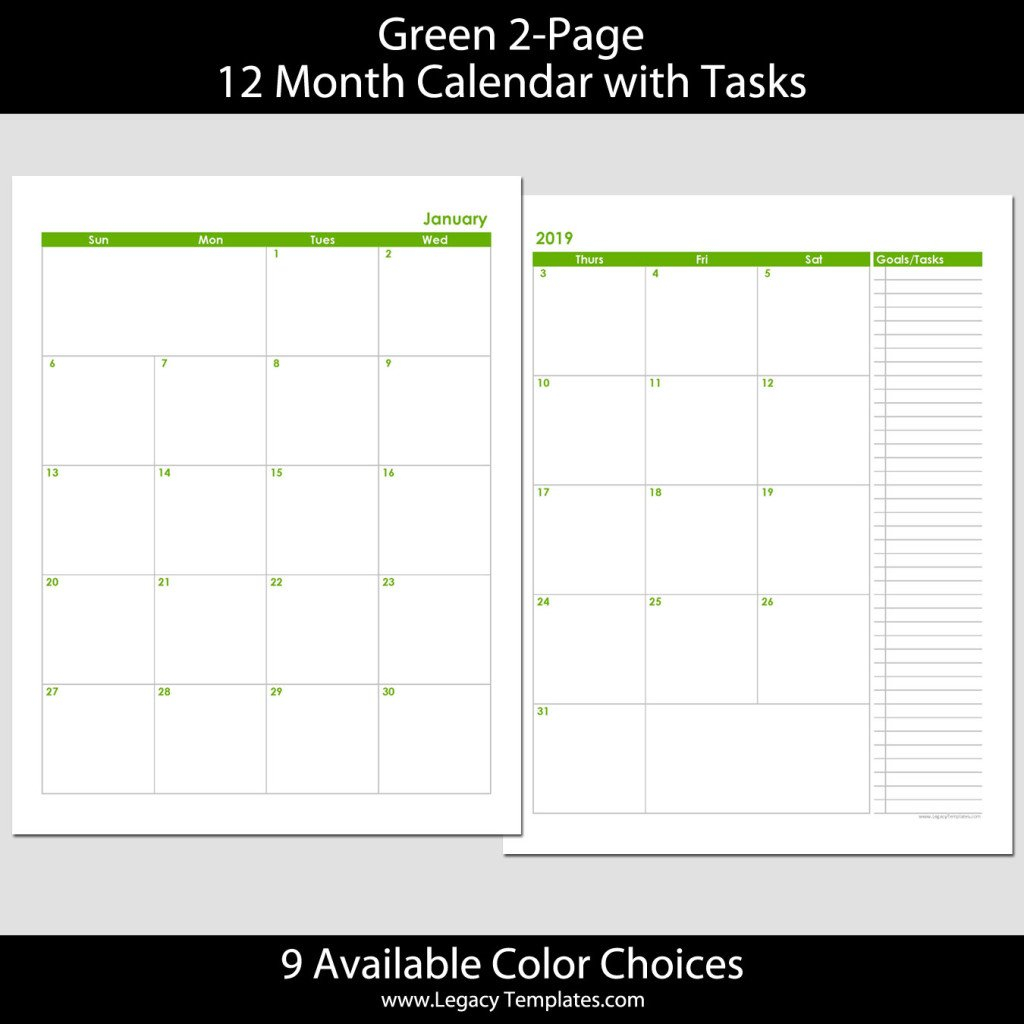 2019 12-Month 2-Page Calendar – 8.5 X 11 | Legacy Templates 8.5 X 11 Printer Friendly Calendar