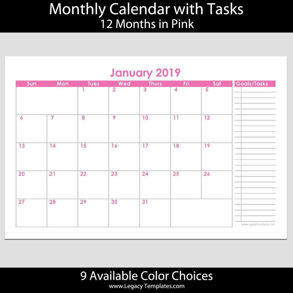 2019 12-Month Landscape Calendar With Tasks – 5.5 X 8.5 Printabel Planner Pages For 5.5 X 8.5 Planner