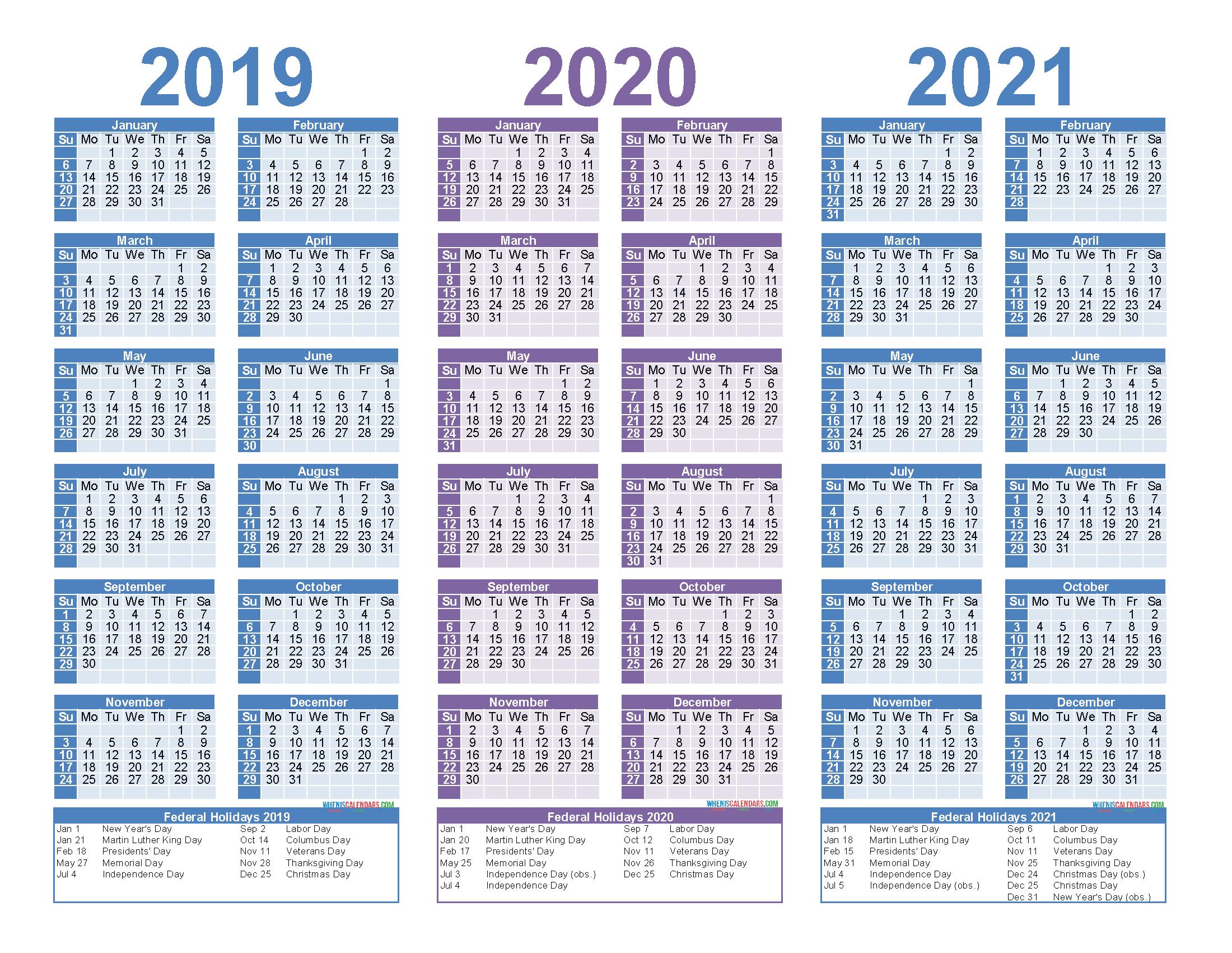 2019 2020 2021 Free Calendar Template 3 Year Calendar 5 Year Schedule Excel