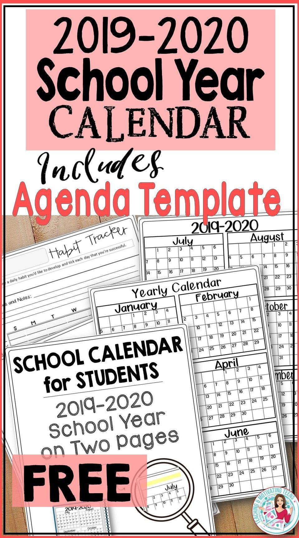 2019-2020 Back-To-School Calendar For Students & Teachers Free School Calendars For Teachers