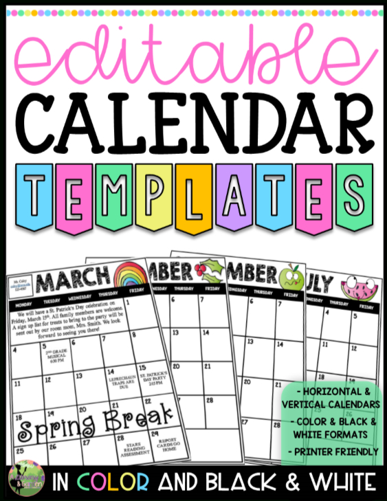 2019-2020 Editable Calendar Templates (Color And Blackline Free Editable Calendars For School