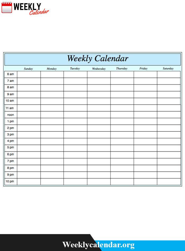 2019 Blank Weekly Calendar Printable In Pdf, Word & Excel Blank Template For Two Week Calendar
