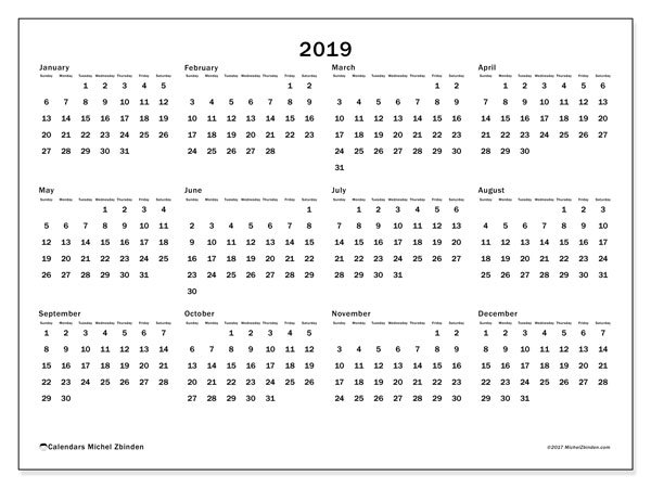 2019 Calendar (32Ss) - Michel Zbinden En Free 2020 Calendar With Days Counted 1-365