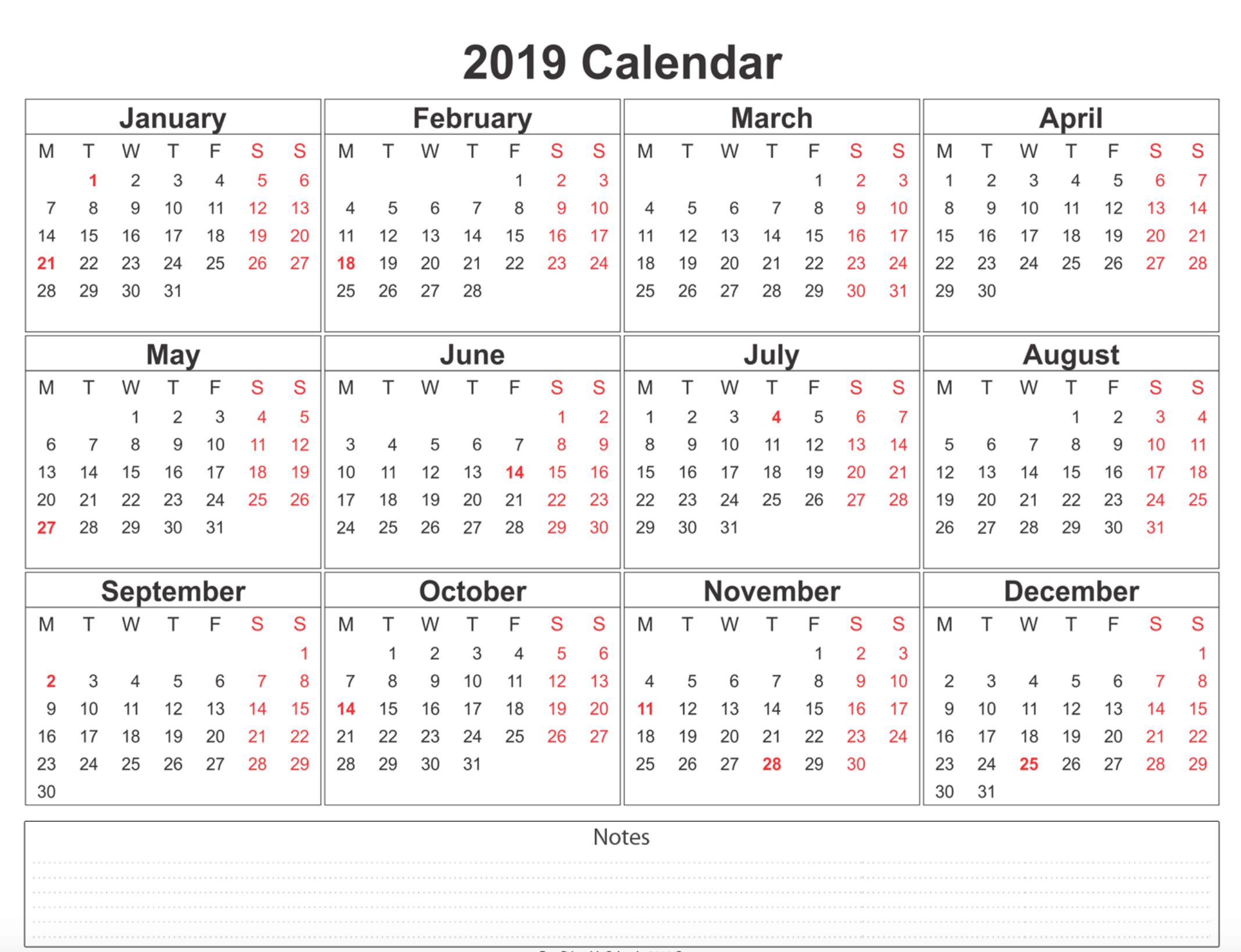 2019 Calendar - Amazonaws 3 Month Calendar Template Printable