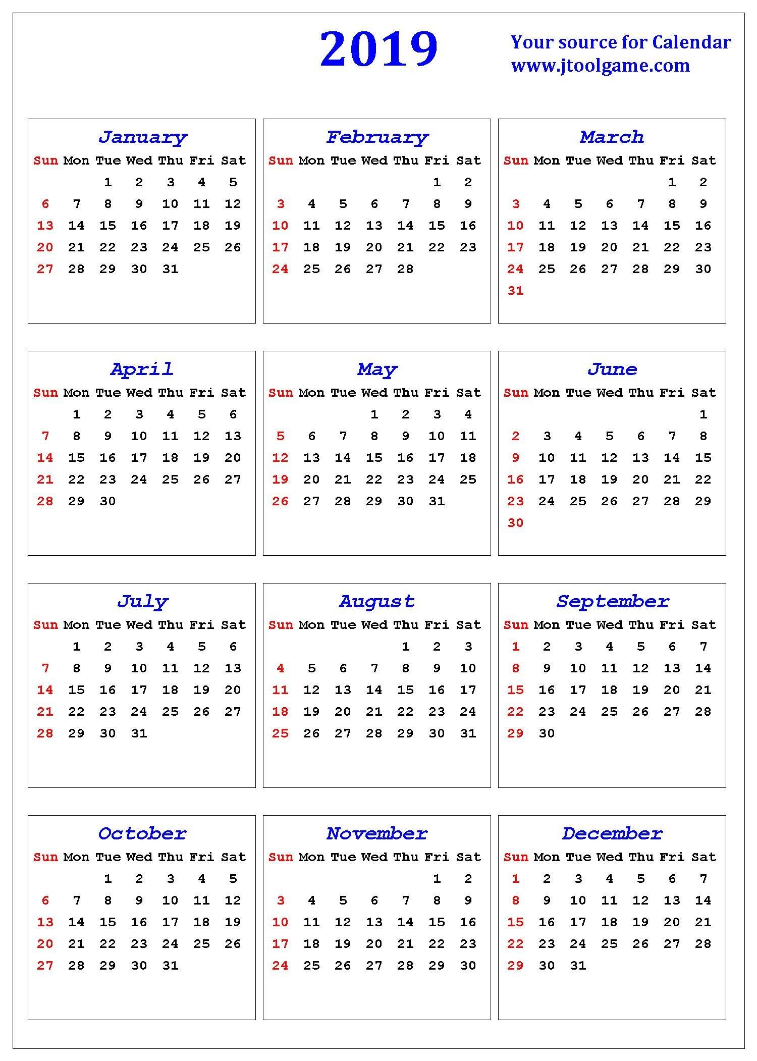 2019 Calendar - Printable Calendar. 2019 Calendar In Small Printable Blank Calendar