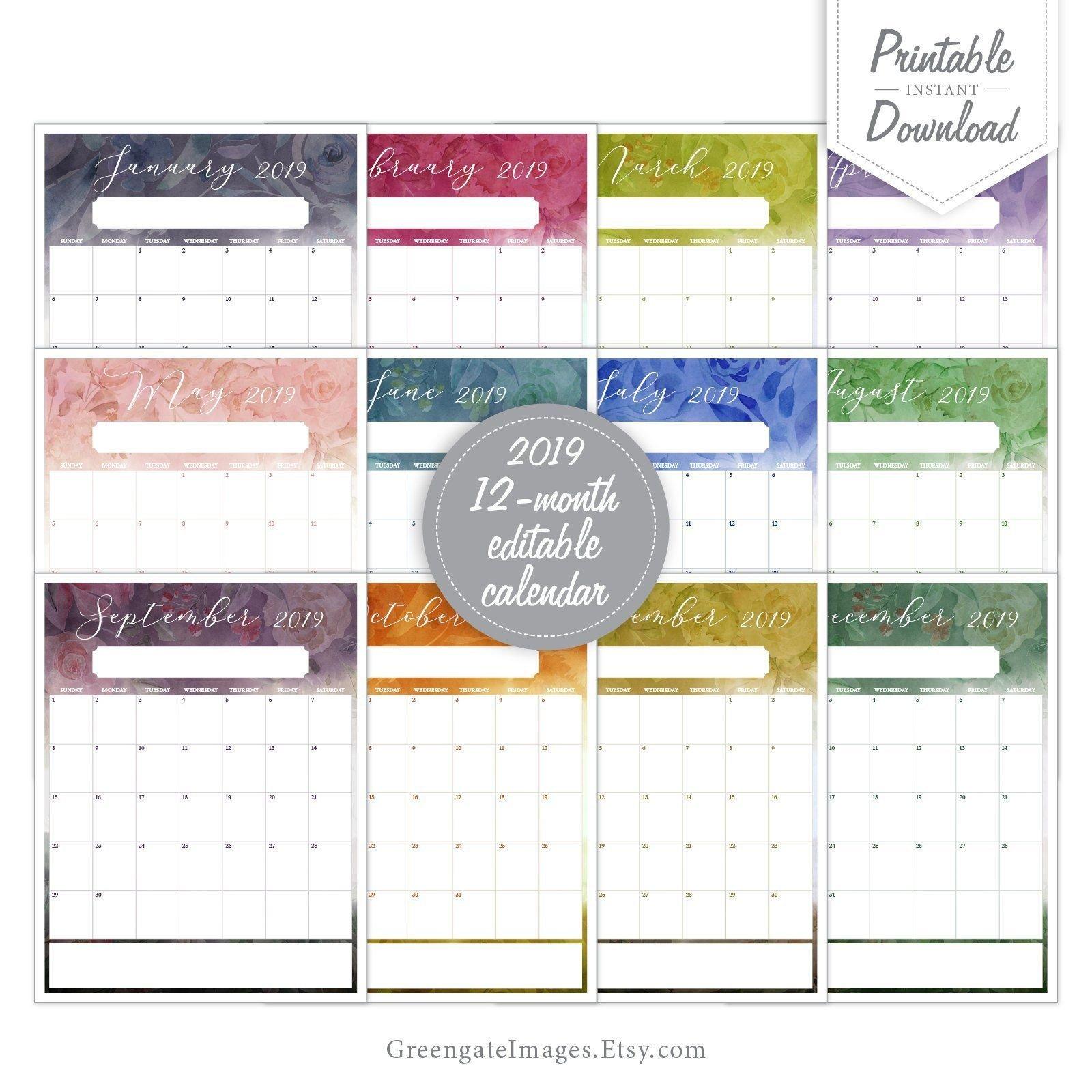 2019 Editable Calendar - Fillable Calendar, 12 Month 12 Months Calendar Editable