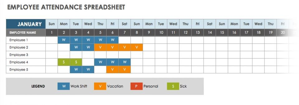 2019 Employee Attendance Calendar Sheet Excel Template Excel Time Off Tracking Calander