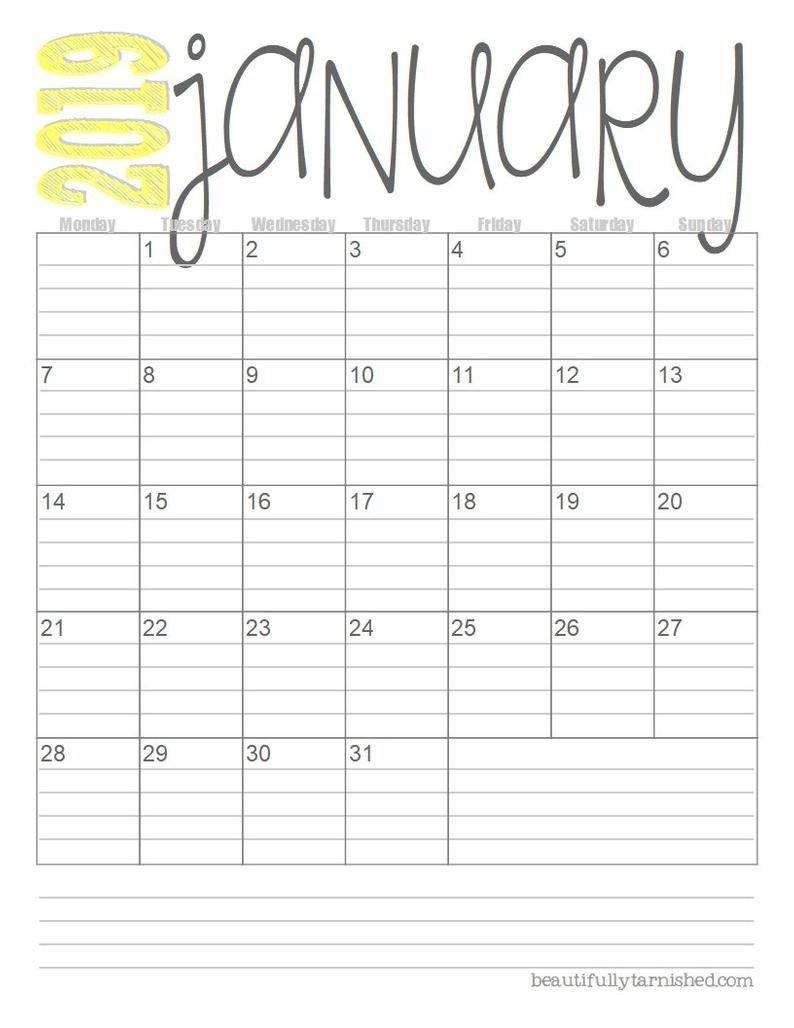 2019 European Monthly Calendars Printable Download | Etsy Free Printable Lined Monthly Calendars