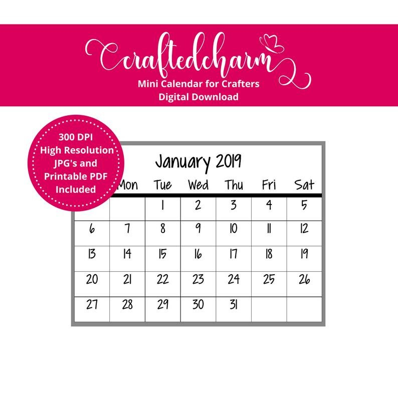 2019 Mini Calendar Digital Download Printable Mini Printable Rip Off Day Calendar