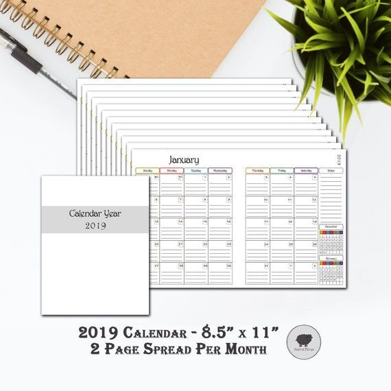 2019 Printable Calendar, Double Page Monthly Spreads, 8 1 8 1/2 11 Dayplanner Calendar