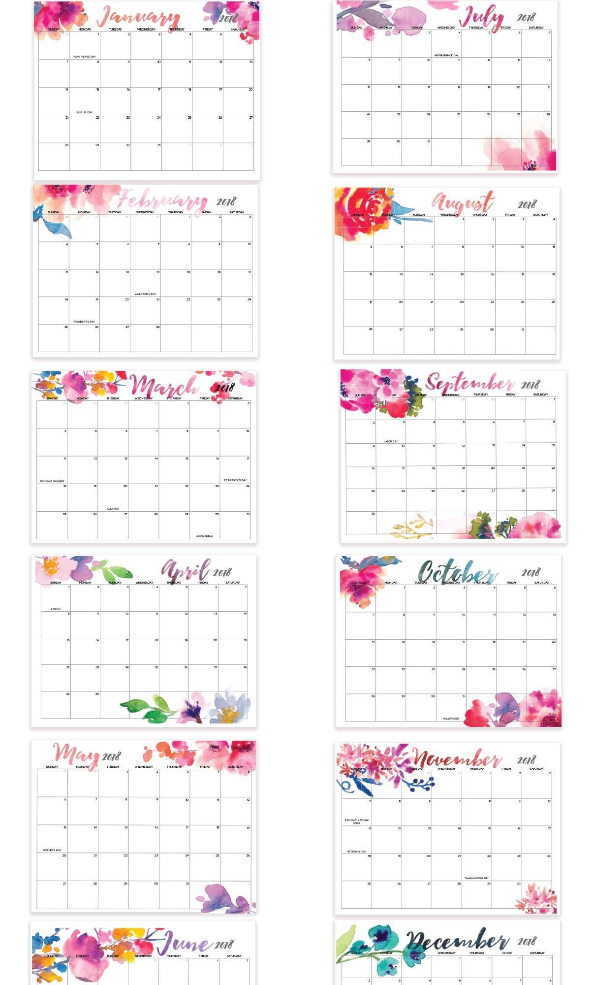 2019 Printable Calendar Editable 12 Month Letter Size | Etsy 12 Month Editable Calendar