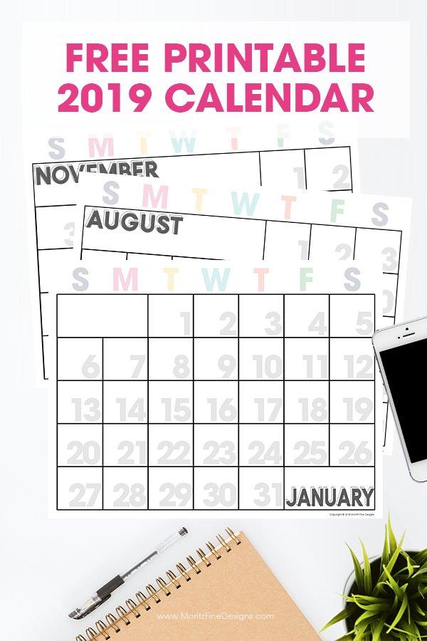 2019 Printable Calendar | Free Printable Monthly Calendar Calendars You Can Modify