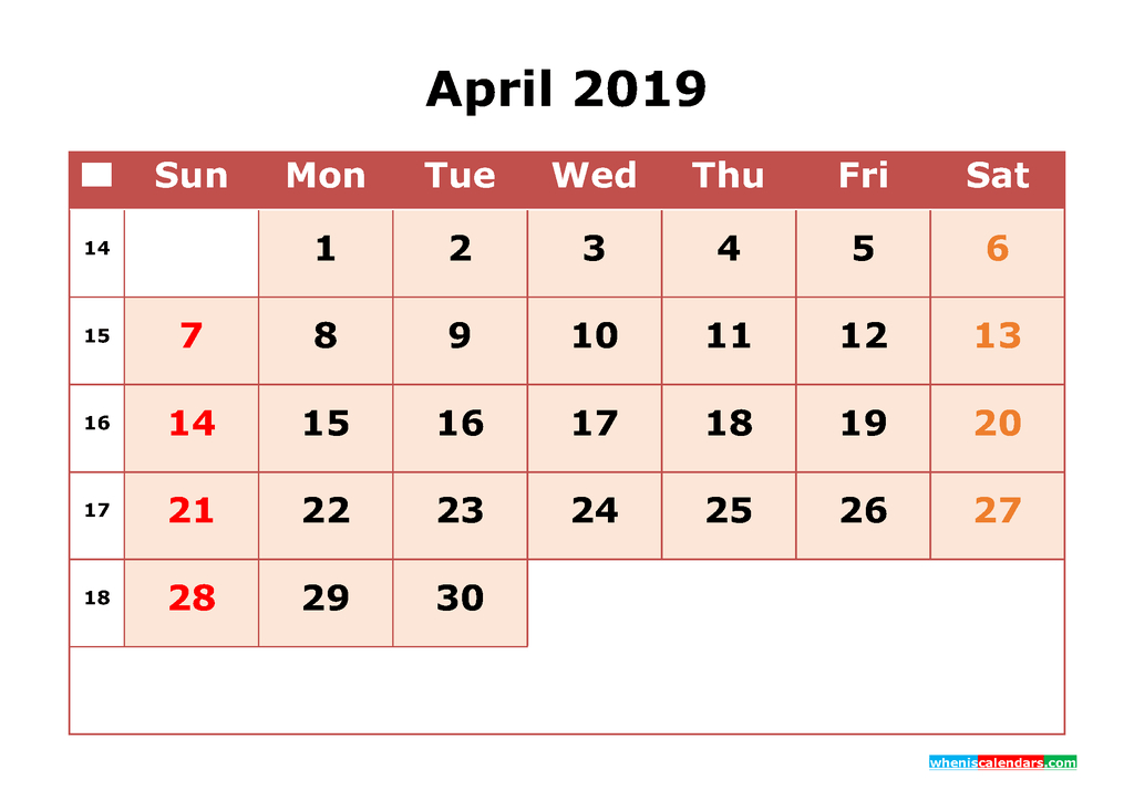 2019 Printable Calendar With Week Numbers One Month On One Calendar 2 Week Block Printable Free April