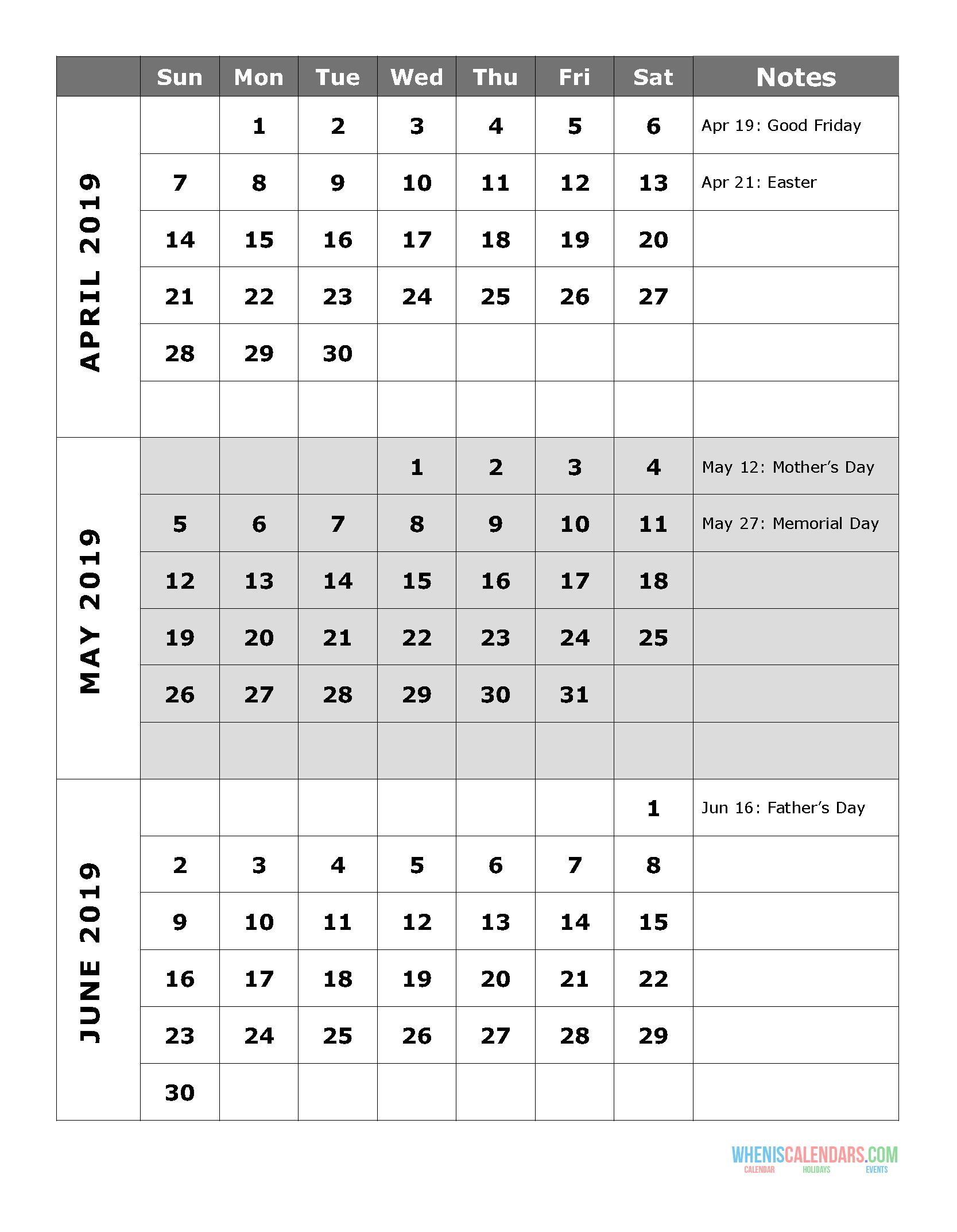 2019 Quarterly Calendar Printable Q.2: April May June 3 Month Calendar April Free Printable