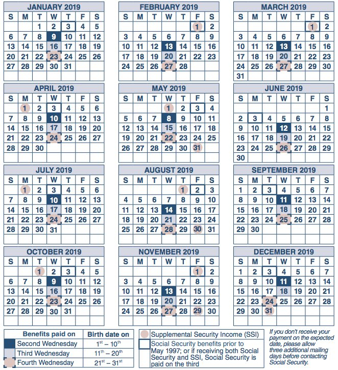 2019 Social Security Payment Schedule Optimize Your Short Time Calendars For Retirement