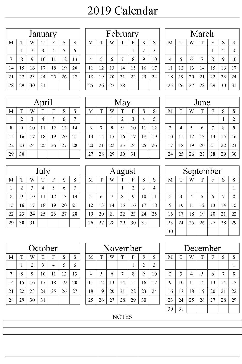 2019 Yearly Calendar Printable Templates – Holidays, Pdf Small Printable Blank Calendar