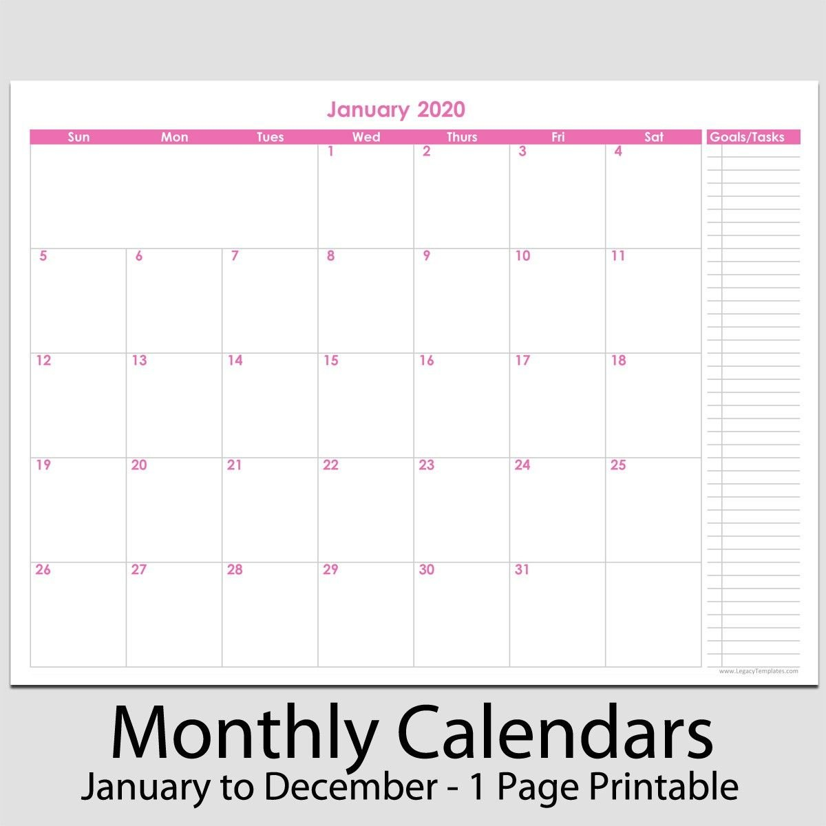 "2020 12 Month Calendar With Tasks 8 1 2"" X 11 2020 12 8 1/2 X 11 Monthly Calendar Pages"