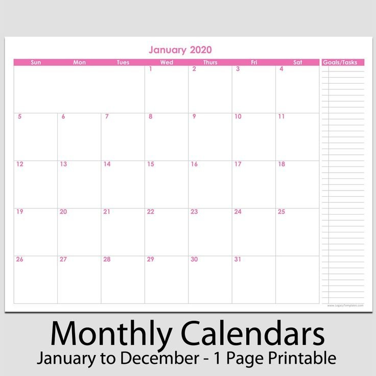 "2020 12 Month Calendar With Tasks 8 1 2"" X 11 2020 12 Printable 2020 Calendar 8 1/2 X 11"
