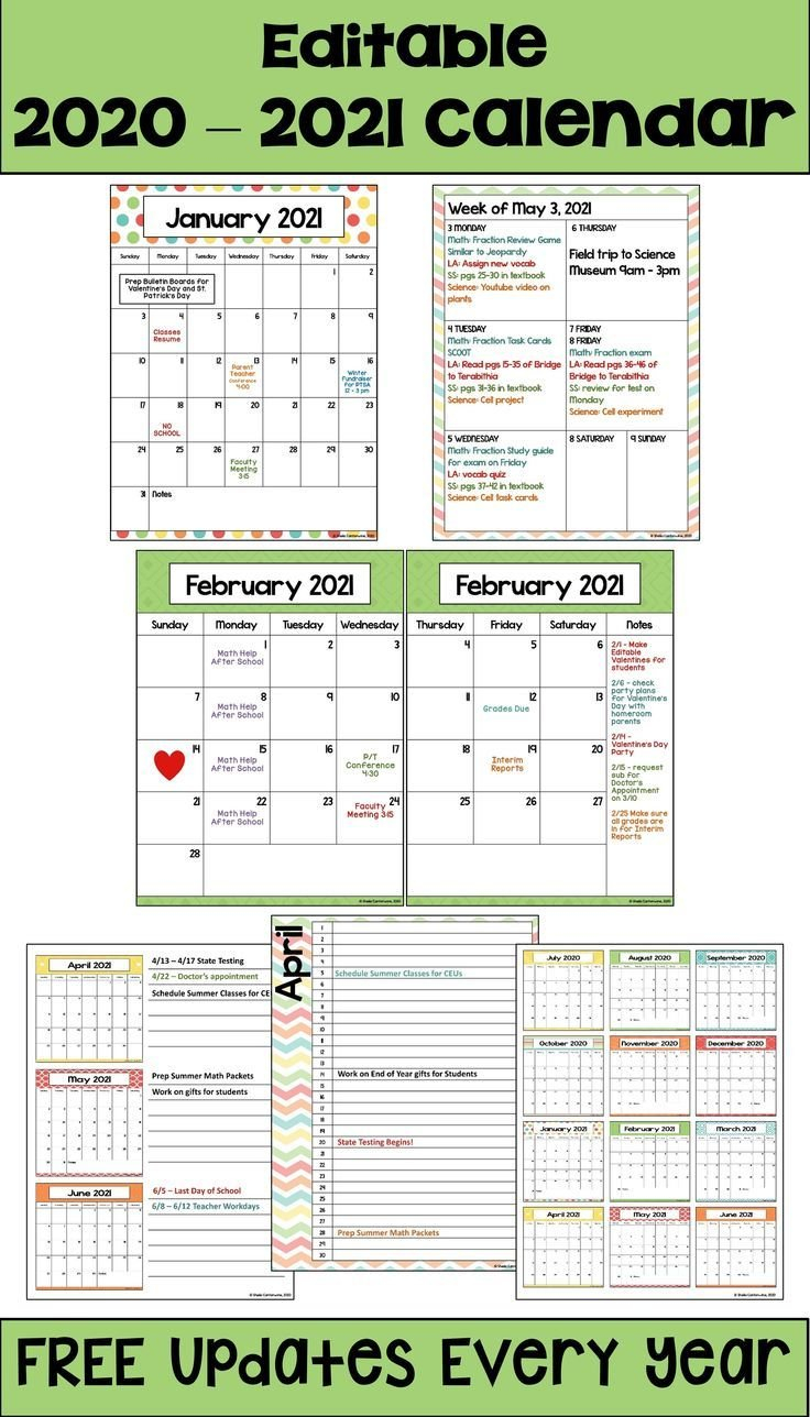 2020-2021 Calendar Printable And Editable With Free Free Editable Calendars For School
