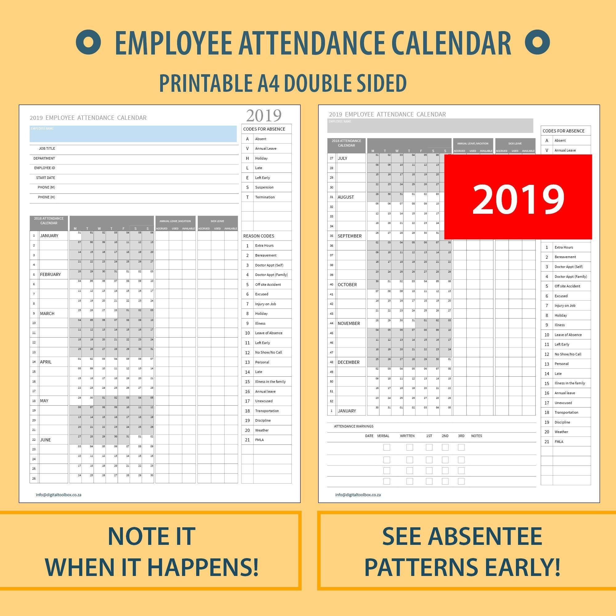 2020 A4 Printable Employee Attendance Calendar/Tracker For Free Sick Leave Calendar Printable