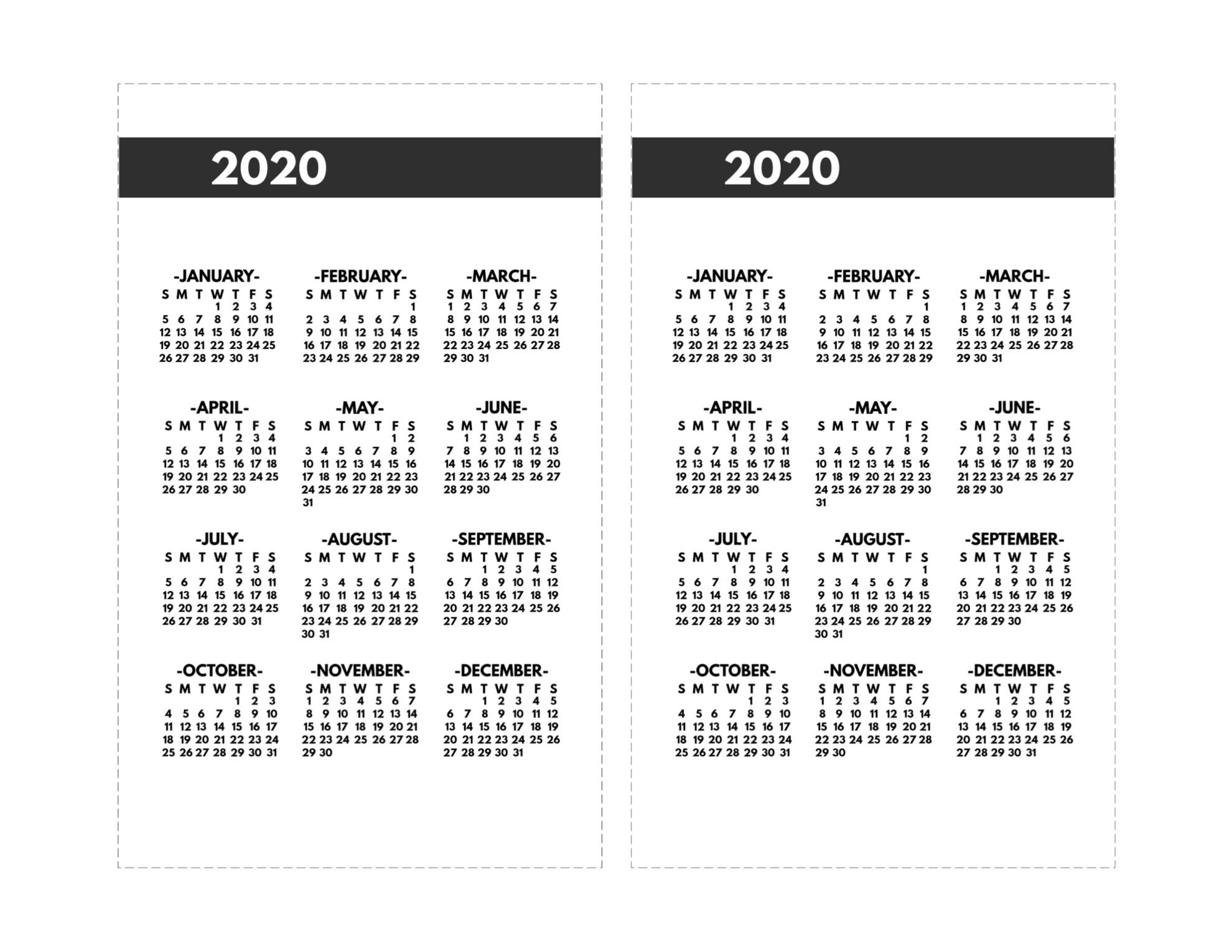 2020 Calendar 8 1/2 X 11 | Free Printable Calendar 8 And 1/2 By 11 Monthly Printabe Calendar