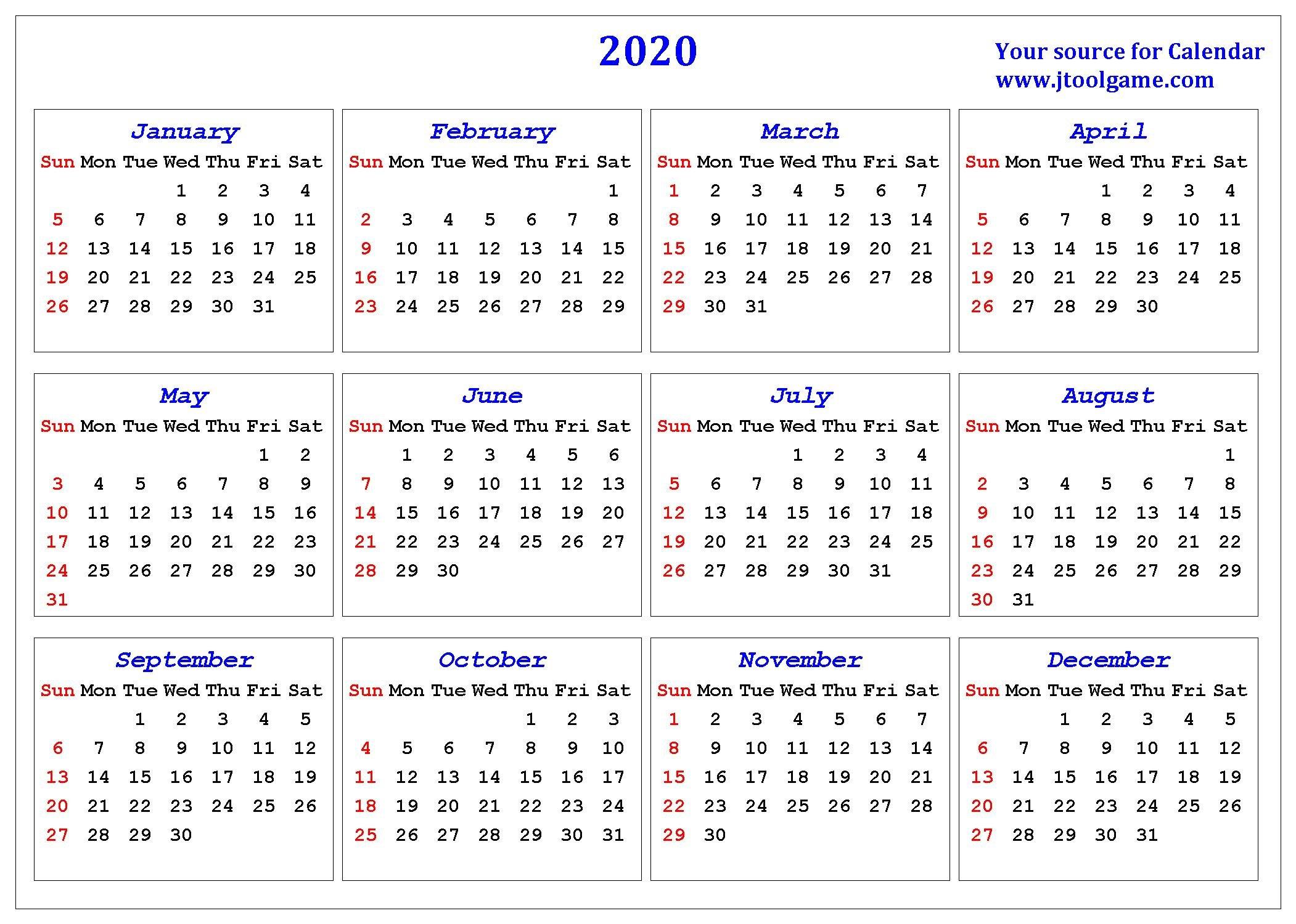 2020 Calendar - Printable Calendar. 2020 Calendar In Free 2020 Calendar With Days Counted 1-365