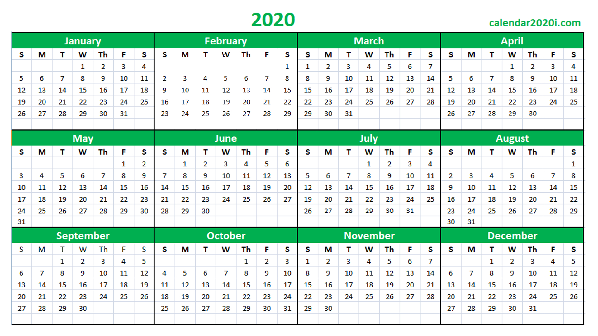2020 Calendar Printable Template Holidays, Word, Excel Calendars I Can Edit