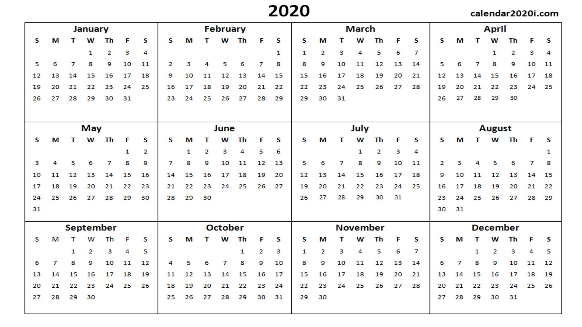 2020 Calendar Printable Template Holidays, Word, Excel Calender You Cann Edit With Holidays On It