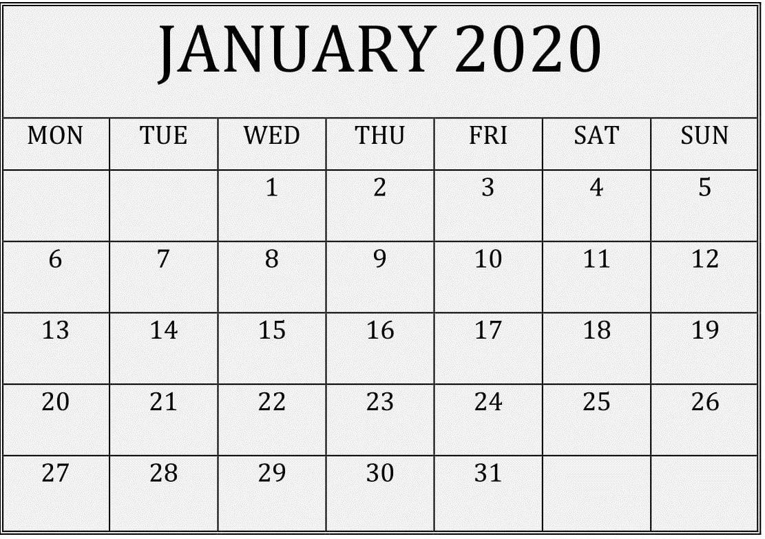 2020 Calendar You Can Edit | Month Calendar Printable Free Calendar I Can Edit