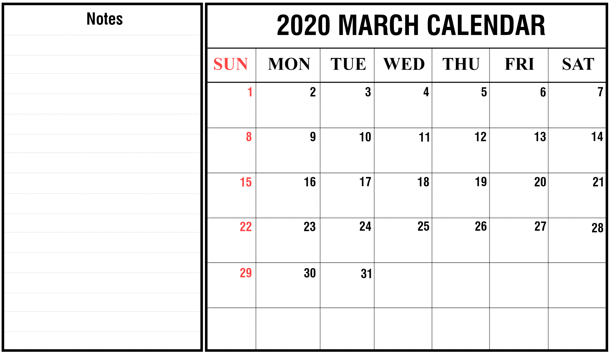 2020 Calender I Can Edit | Calendar Template Printable Monthly Calendar I Can Edit