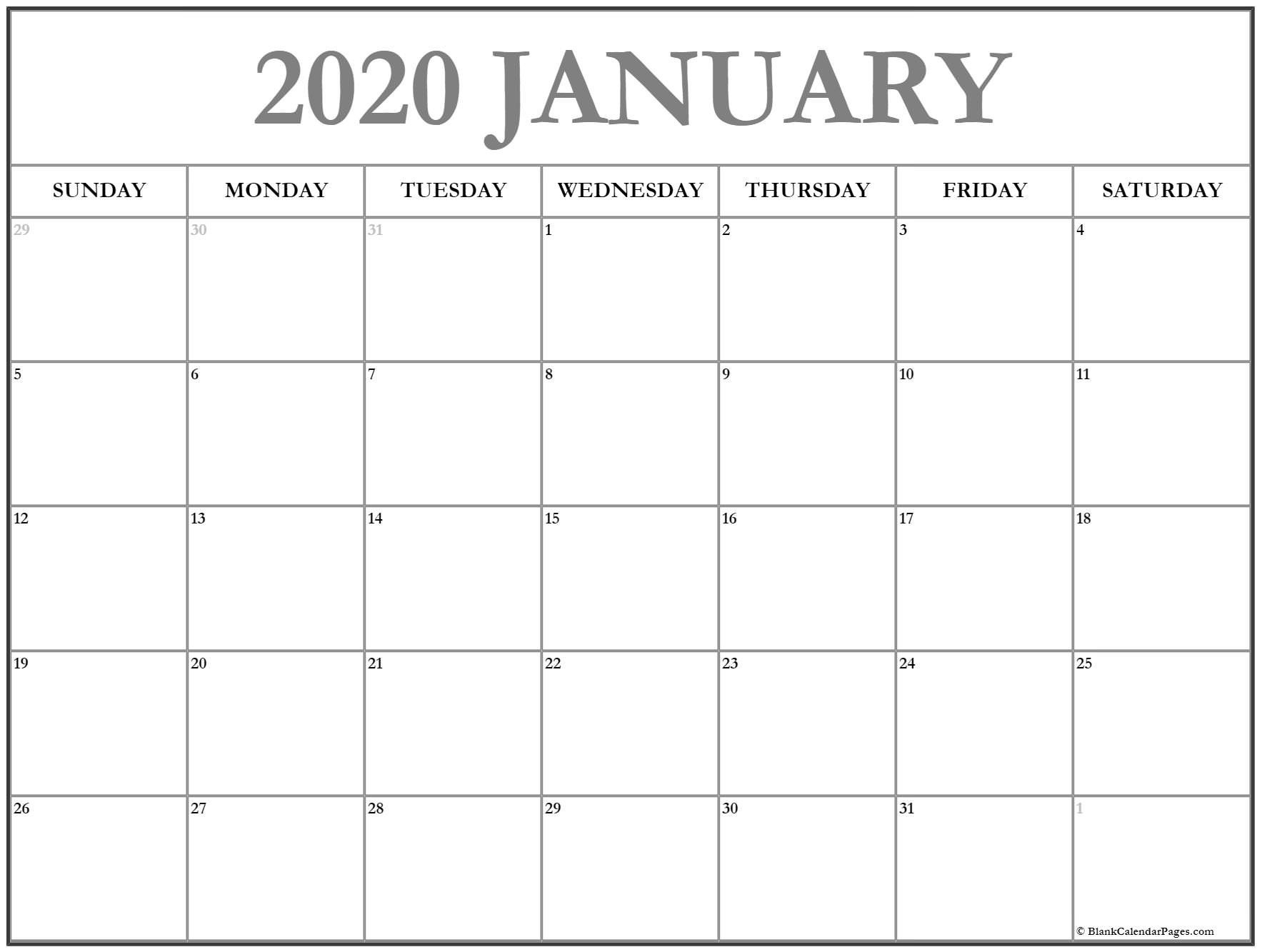 2020 Free Monthly Printable Calendar Monday Thru Friday Free Printable Monday Through Friday Calendar