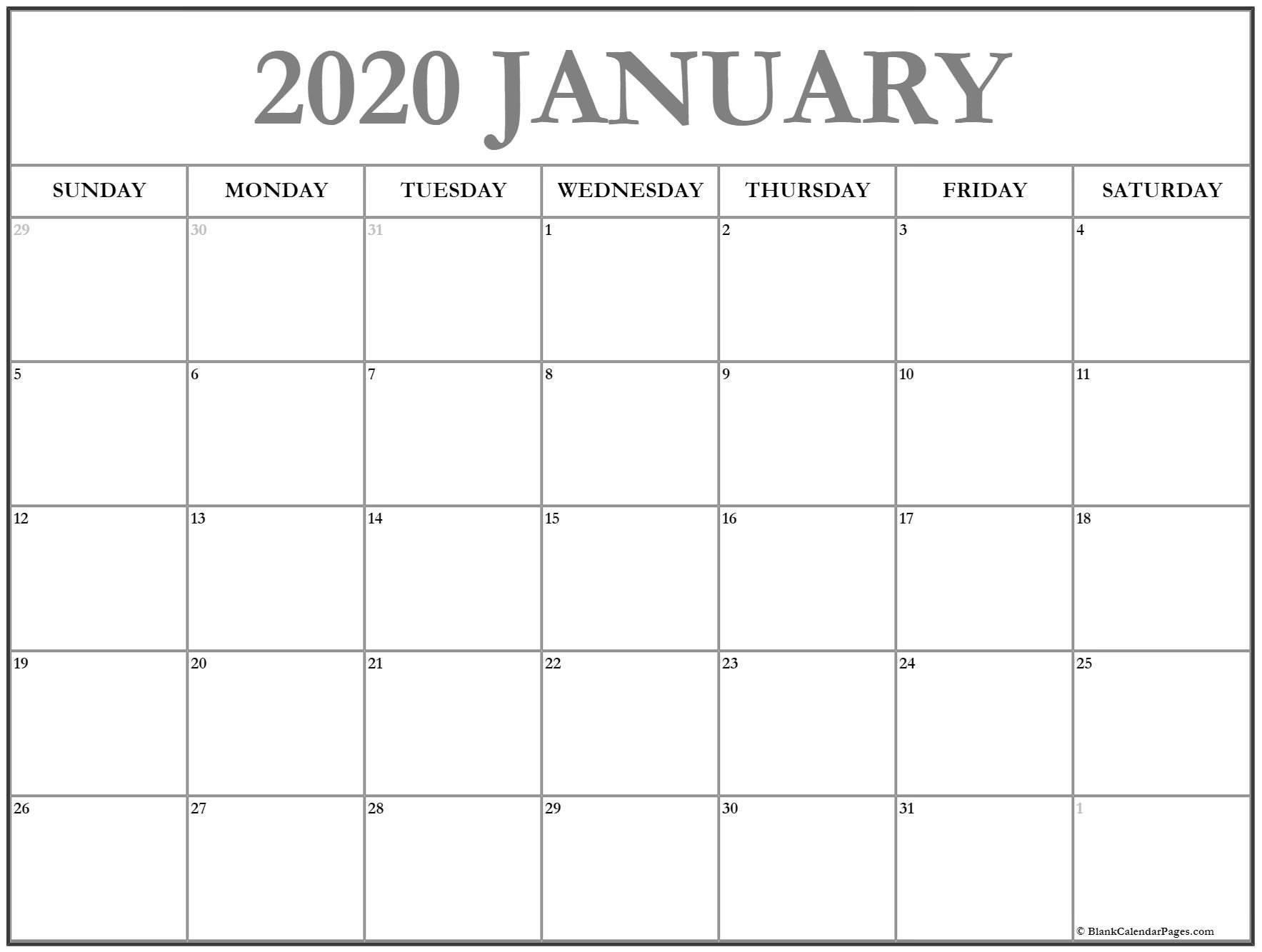 2020 Free Monthly Printable Calendar Monday Thru Friday Monday Through Friday Calendar