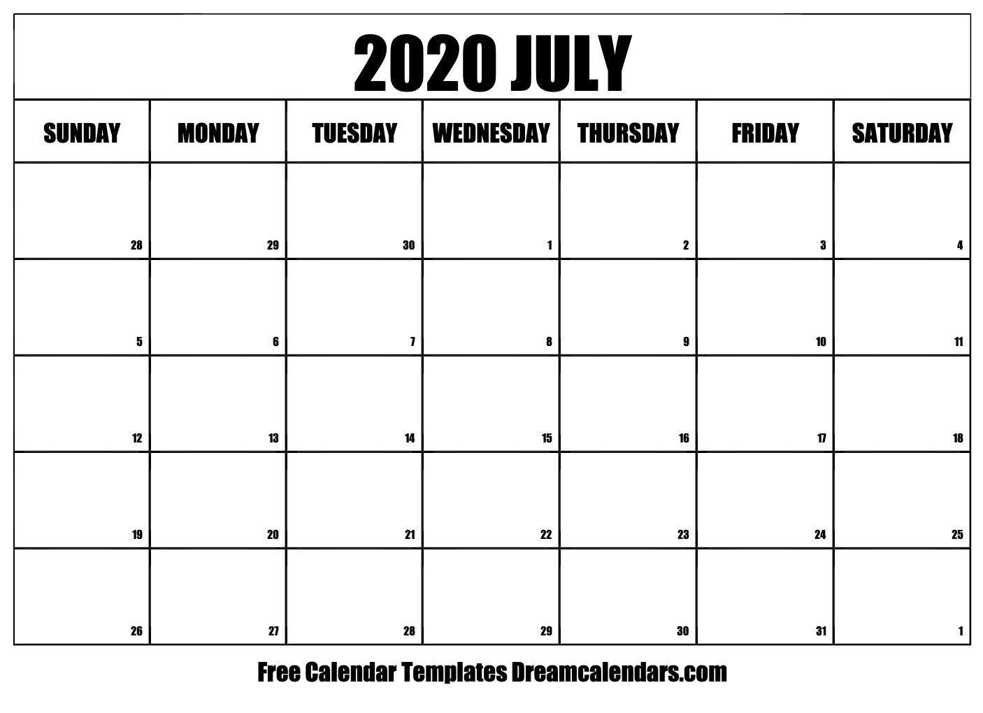 2020 Free Monthly Printable Calendar Monday Thru Friday Monday Through Friday Free Printable Calendar