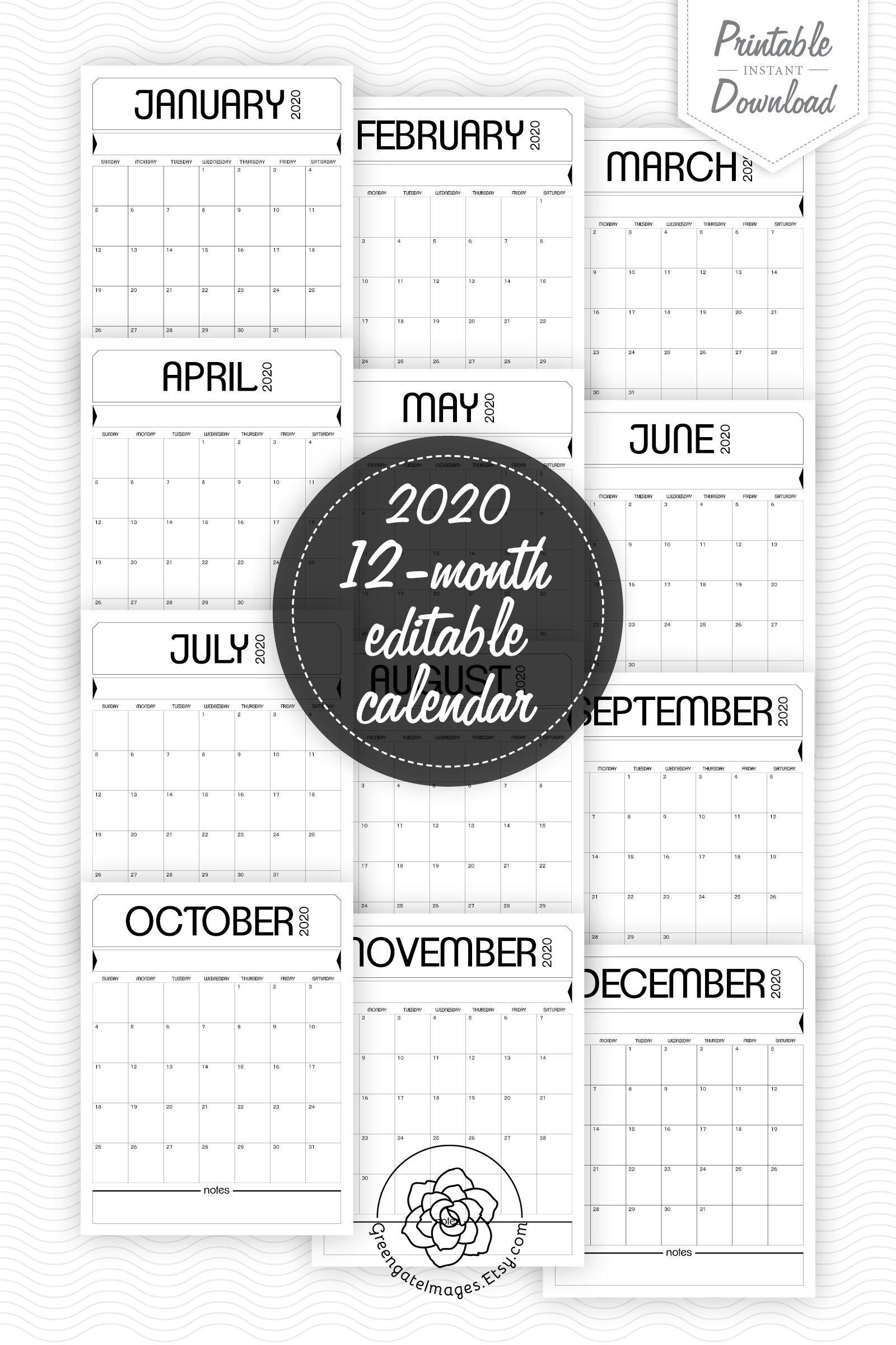 2020 Printable Calendar - Fillable Planner, Editable Pdf Fillable Birthday Calendar Template