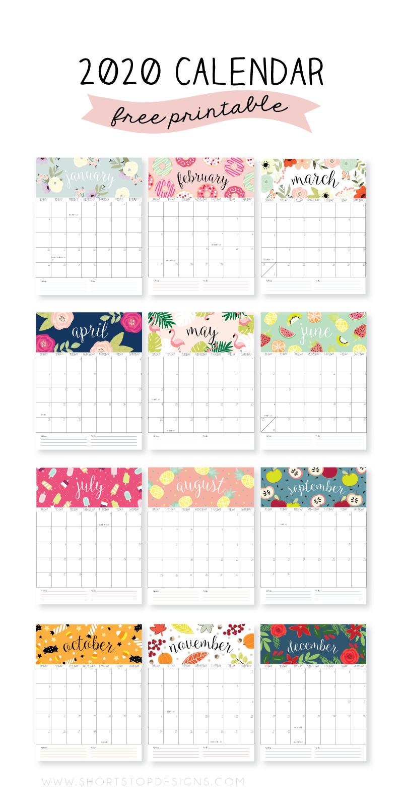 2020 Printable Calendar – Short Stop Designs Short Timers Calendar Printable