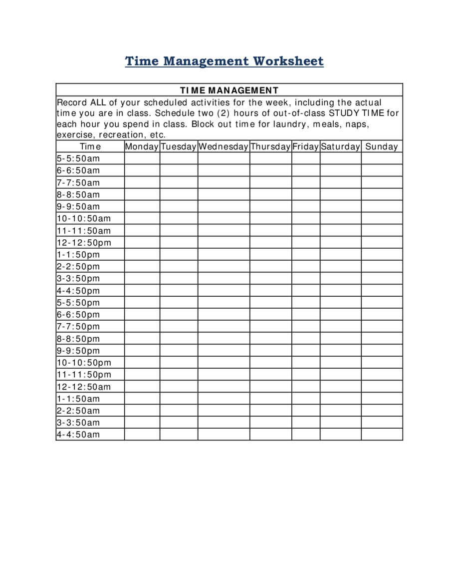 2020 Time Management - Fillable, Printable Pdf & Forms Time Management Calendar Free