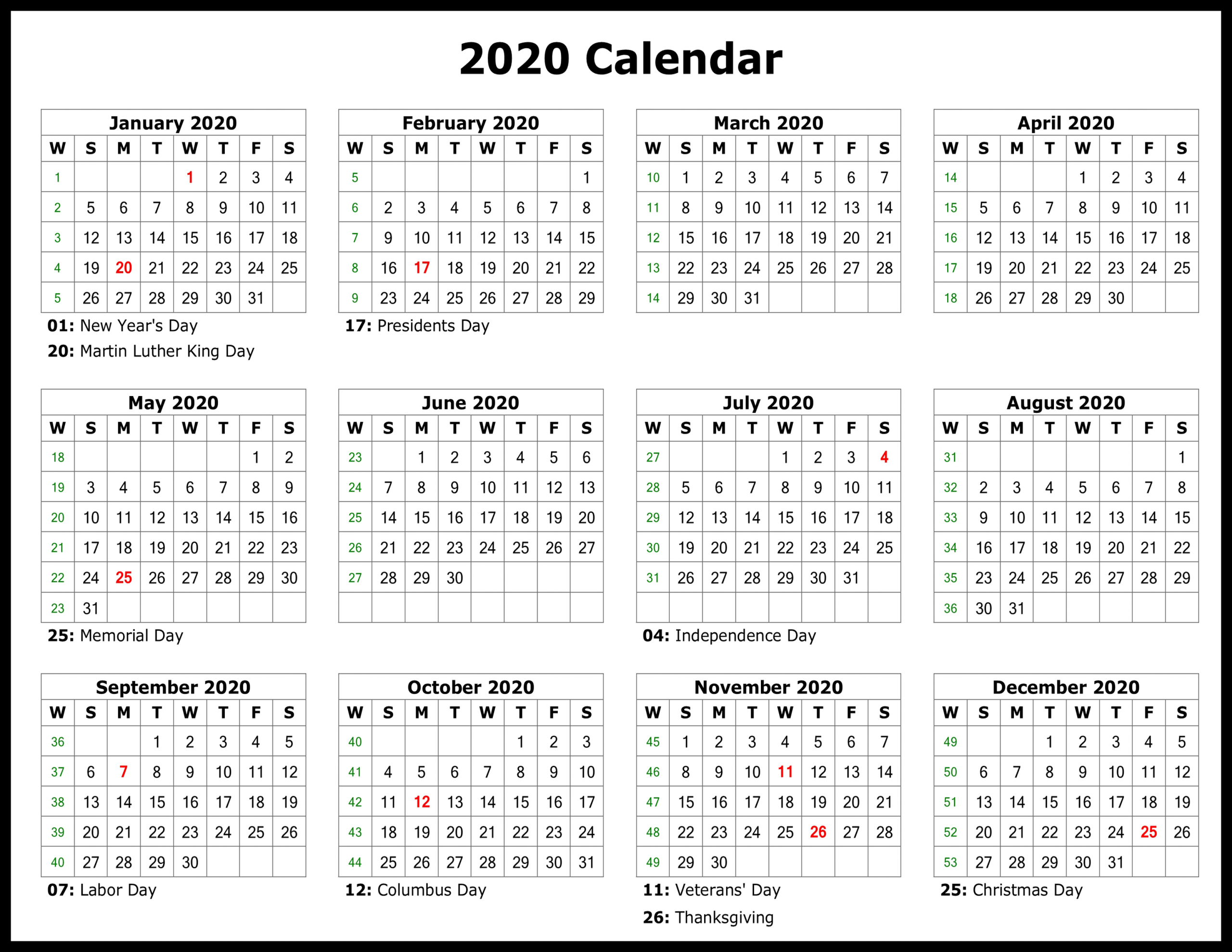 2020 Yearly Calendar Download Sunday Through Saturday Sunday Through Saturday Calendar